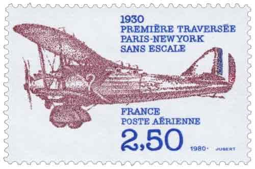 Timbre : 1930 PREMIÈRE TRAVERSÉE PARIS-NEW YORK SANS ESCALE