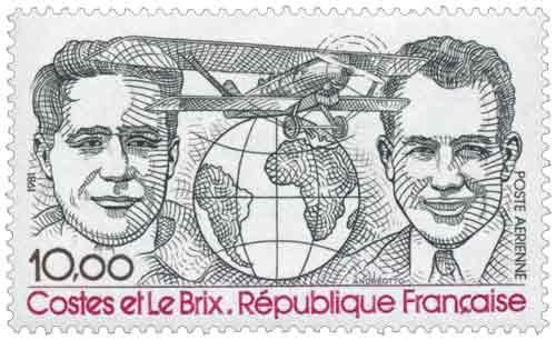 Timbre : Aviateurs Dieudonné Costes et Joseph Le Brix
