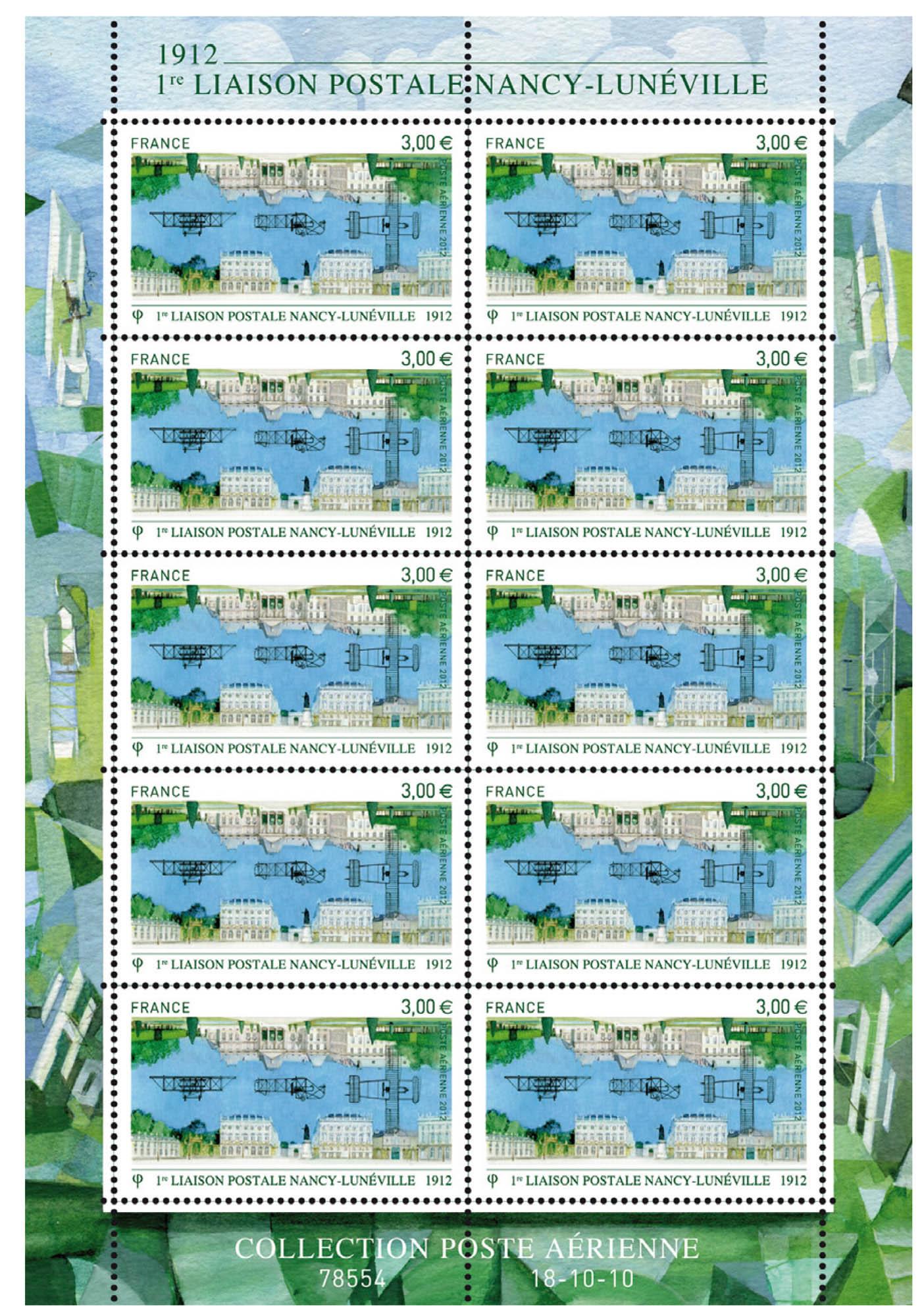 Feuillet : 1ère liaison postale NANCY-LUNÉVILLE 1912