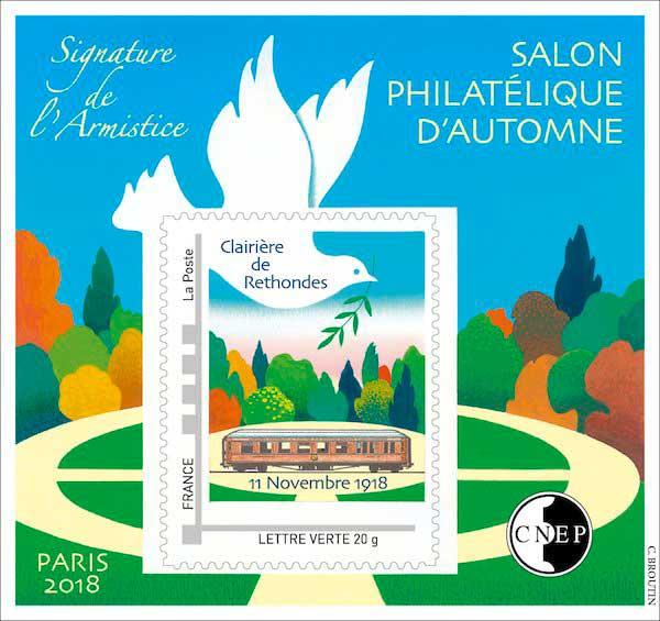 Bloc : 72ème Salon philatélique d'automne - Signature de l'armistice - Clairière de Rethondes - 11 novembre 1918