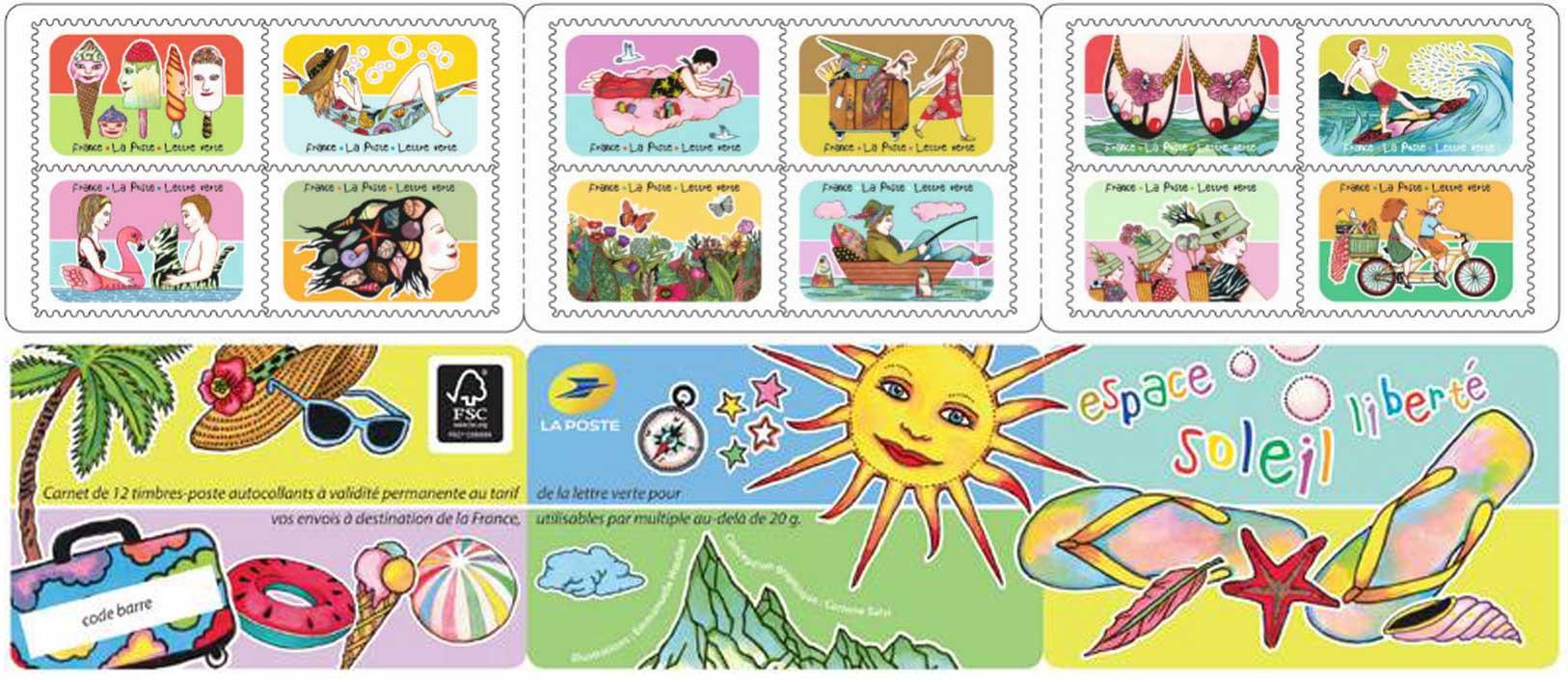 Carnet : 12 timbres - Vacances