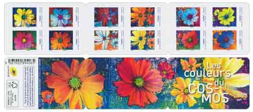 Carnet : 12 timbres - Fleurs Cosmos