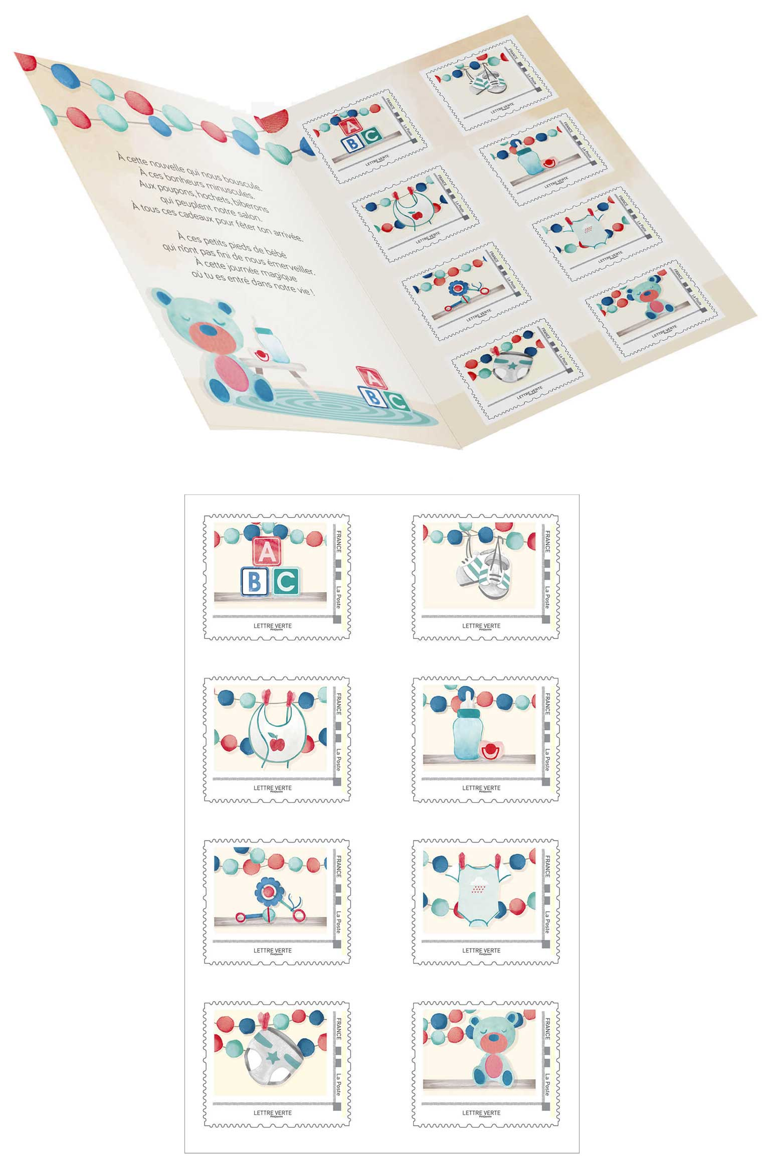 Collector : 8 timbres - Naissance - Bébé est là