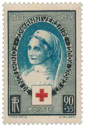 Timbre : 75ème ANNIVERSAIRE - FONDATION DE LA CROIX-ROUGE 1864-1939