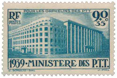 Timbre : POUR LES ORPHELINS DES PTT 1939. MINISTÈRE DES P.T.T.
