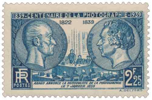 Timbre : 1839-1939 CENTENAIRE DE LA PHOTOGRAPHIE