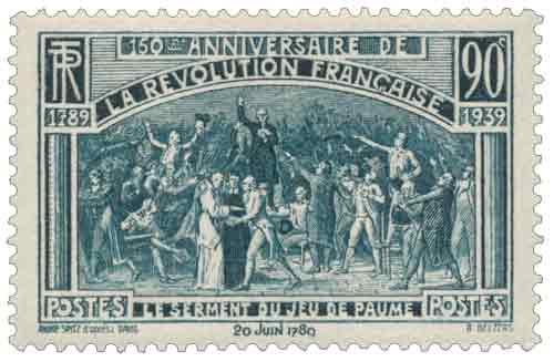 Timbre : 150ème ANNIVERSAIRE DE LA RÉVOLUTION FRANÇAISE 1789-1939 LE SERMENT DU JEU DE PAUME 20 juin 1789