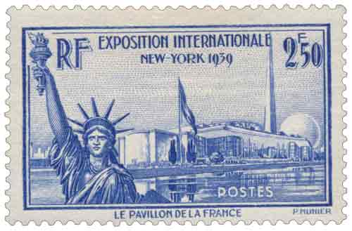 Timbre : EXPOSITION INTERNATIONALE NEW-YORK 1939 LE PAVILLON DE LA FRANCE