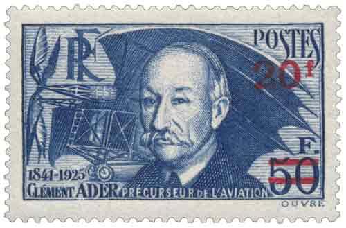 Timbre : CLÉMENT ADER 1841-1925 PRÉCURSEUR DE L'AVIATION (surcharge rouge)