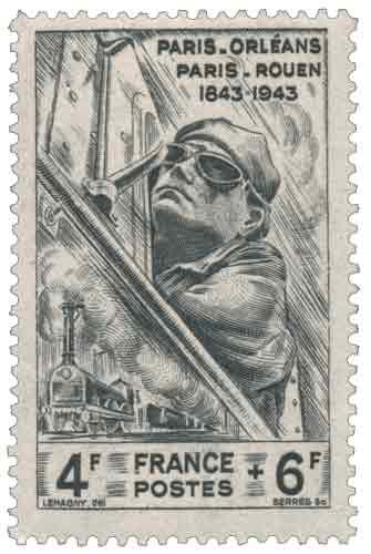 Timbre : PARIS-ORLÉANS PARIS-ROUEN 1843-1943