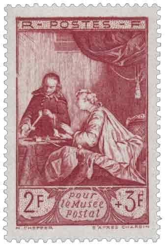"""Timbre : Pour le Musée Postal """"Le cachet de cire d'après Chardin (1699-1779)"""""""