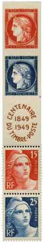 Timbre : CENTENAIRE DU TIMBRE-POSTE 1849-1949