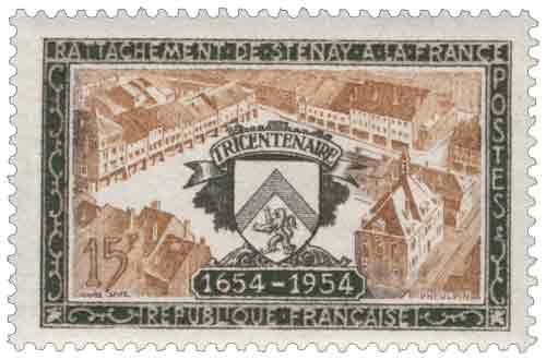 Timbre : RATTACHEMENT DE STENAY A LA FRANCE TRICENTENAIRE 1654-1954
