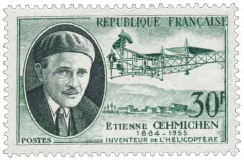 Timbre : ETIENNE ŒHMICHEN 1884-1955 INVENTEUR DE L'HÉLICOPTÈRE