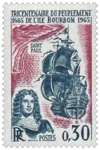 Timbre : TRICENTENAIRE DU PEUPLEMENT DE L'ÎLE BOURBON 1665-1965