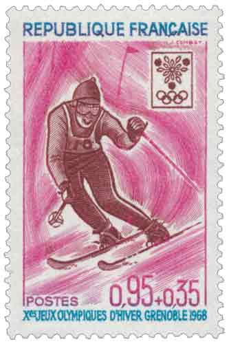 Timbre : Xes JEUX OLYMPIQUES D'HIVER GRENOBLE 1968