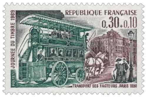 Timbre : JOURNÉE DU TIMBRE 1969 TRANSPORT DES FACTEURS. PARIS 1830