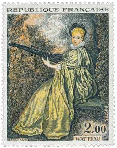 Timbre: La finette, œuvre d'Antoine Watteau (1684-1721)