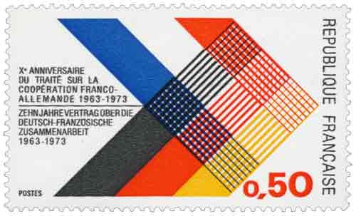 Timbre : Xème ANNIVERSAIRE DE TRAITÉ SUR LA COOPÉRATION FRANCO-ALLEMANDE 1963-1973