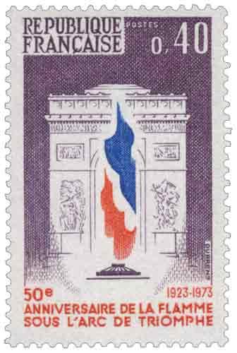 Timbre : 50ème ANNIVERSAIRE DE LA FLAMME SOUS L'ARC DE TRIOMPHE 1923-1973