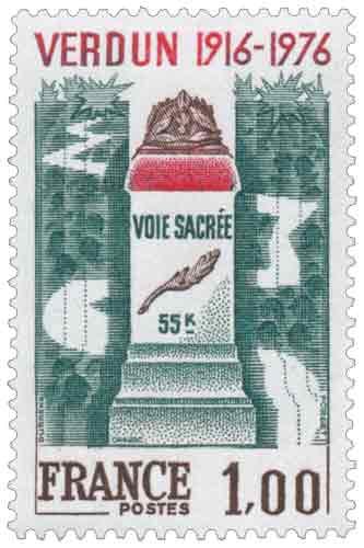 Timbre : VERDUN 1916-1976 VOIE SACRÉE 55K
