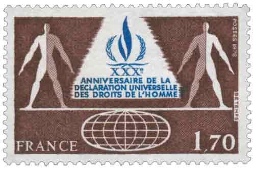 Timbre : 1978 XXXème ANNIVERSAIRE DE LA DÉCLARATION UNIVERSELLE DES DROITS DE L'HOMME
