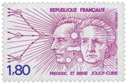 Timbre : FRÉDÉRIC ET IRÈNE JOLIOT-CURIE