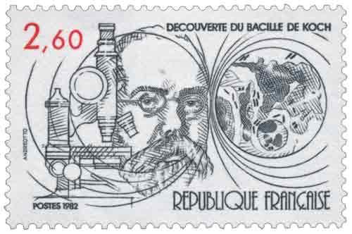 Timbre : 1982 DÉCOUVERTE DU BACILLE DE KOCH