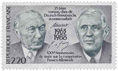 Timbre : XXVème ANNIVERSAIRE DU TRAITÉ SUR LA COOPÉRATION FRANCO-ALLEMANDE 1963-1988
