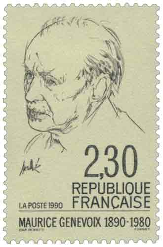 Timbre : MAURICE GENEVOIX 1890-1980