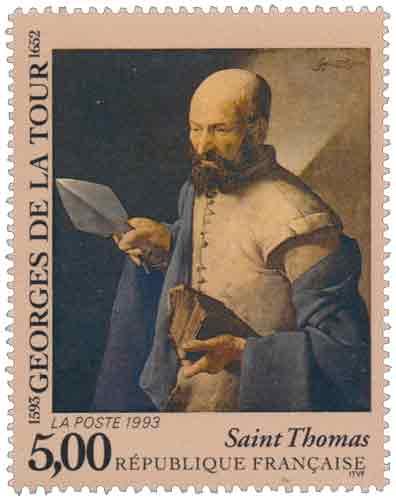 Timbre : GEORGES DE LA TOUR 1593-1652 Saint Thomas