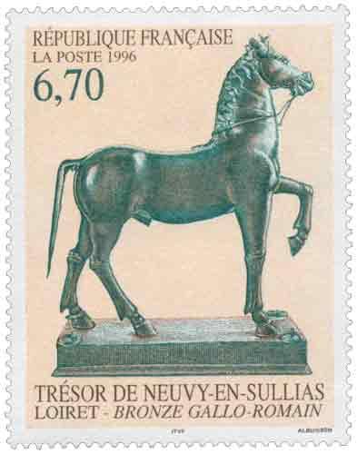 Timbre : TRÉSOR DE NEUVY-EN-SULLIAS LOIRET - BRONZE GALLO - ROMAIN