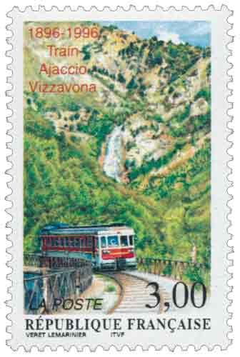 Timbre : Train Ajaccio-Vizzavona 1896-1996