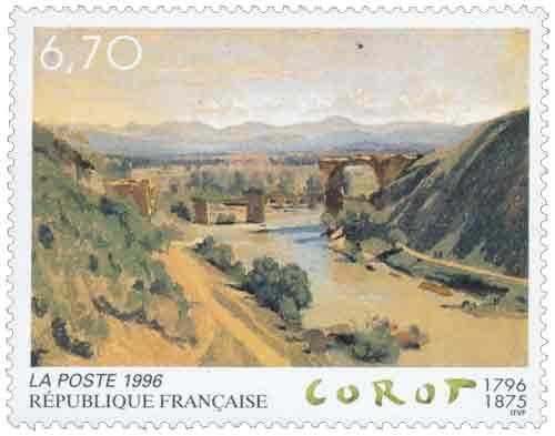 Timbre : Le pont de Narni - Corot 1796-1875