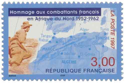 Timbre : Hommage aux combattants français en Afrique du Nord 1952-1962