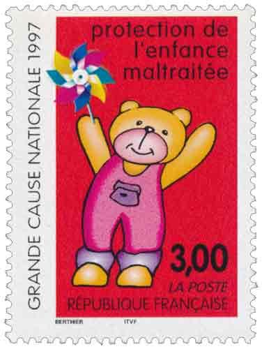 Timbre : protection de l'enfance maltraitée GRANDE CAUSE NATIONAL 1997