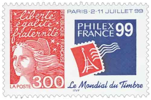Timbre : Le mondial du timbre paris -2-11 juillet 99 liberté égalité fraternité - PHILEXFRANCE 99