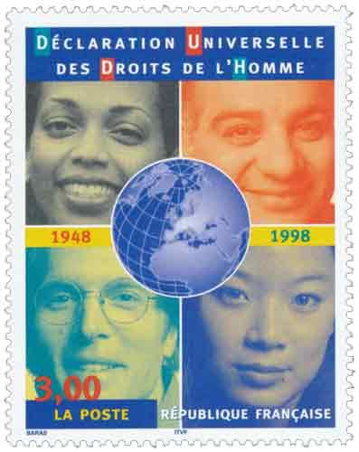 Timbre : DÉCLARATION UNIVERSELLE DES DROITS DE L'HOMME 1848 1998