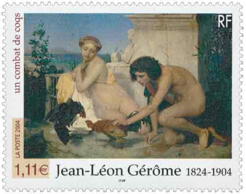 Timbre : Jean-Léon Gérôme 1824-1904 un combat de coqs