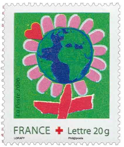 Timbre : « Dessine ton vœu pour les enfants du monde »  Au profit de la Croix-Rouge française