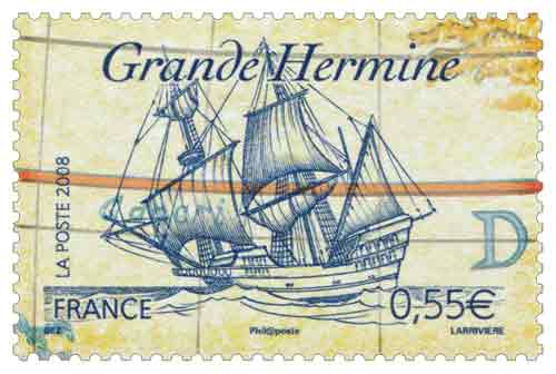 Timbre : La Grande Hermine en 1535, de Jacques Cartier (1491-1557)