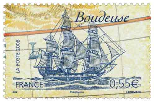 Timbre : Voiliers célèbres: La Boudeuse de Louis Antoine de Bougainville