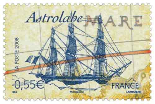 Timbre : L' Astrolabe, de Jules Dumont d'Urville (1790-1842)