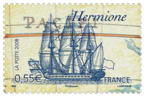 Timbre : L'Hermione, du marquis de La Fayette (1757–1834)
