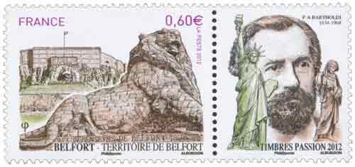 Timbre : TERRITOIRE DE BELFORT aux défenseurs de Belfort 1870-1871