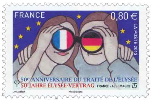 Timbre :  50ème Anniversaire du traité de l'Élysée 50 Jahre Elysée-vertrag