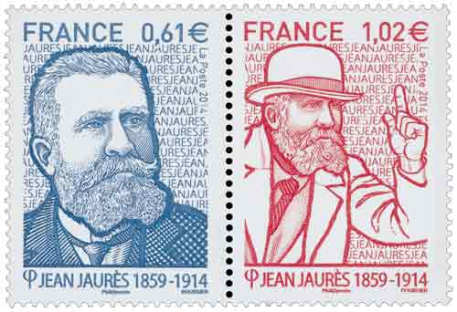 Timbre : diptyque Jean Jaurès (1859-1914)
