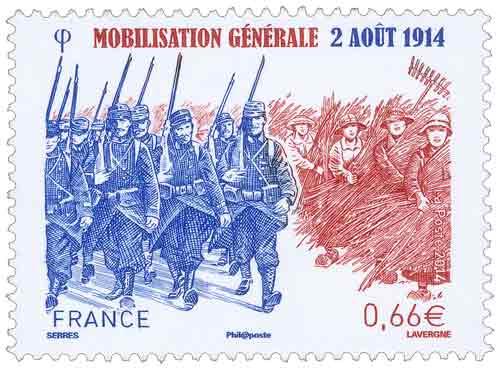Timbre : Mobilisation générale 2 août 1914