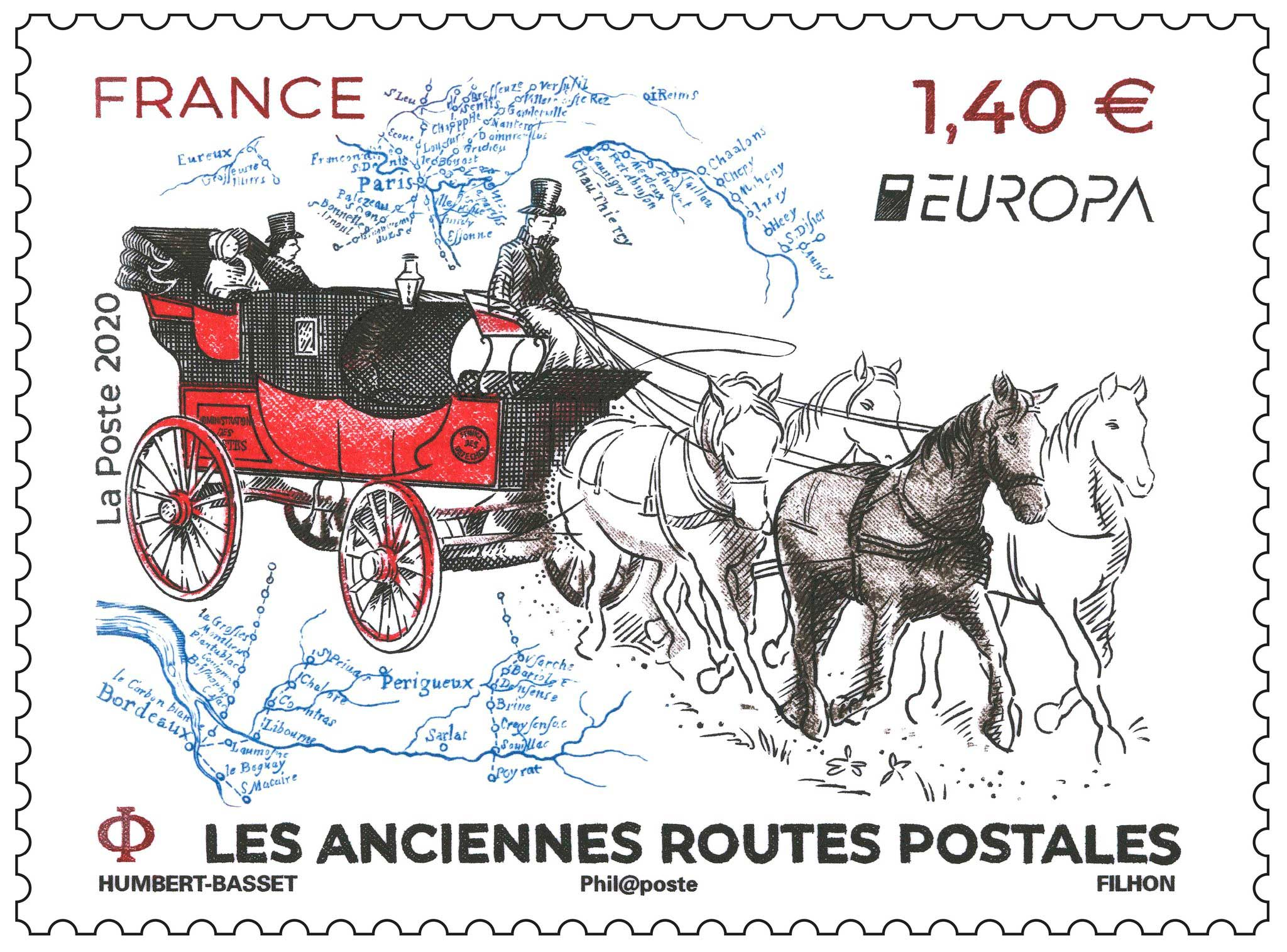 Timbre : EUROPA LES ANCIENNES ROUTES POSTALES
