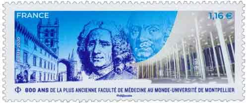 Timbre : 800 ans Faculté Médecine Montpellier